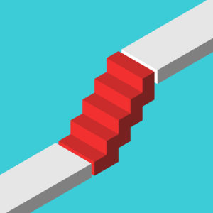 Isometric Red Steps Bridging Gap Between Two Levels On Turquoise